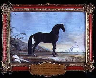 No 7 A dark bay Arab horse of the Spanish Riding School by Baron Reis d' Eisenberg - Reproduction Oil Painting