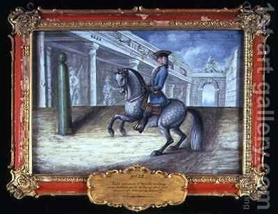 No 32 A dapple grey horse of the Spanish Riding School performing a left turn at the canter by Baron Reis d' Eisenberg - Reproduction Oil Painting