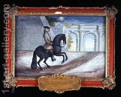 No 31 An iron grey horse of the Spanish Riding School performing a half turn to the left by Baron Reis d' Eisenberg - Reproduction Oil Painting
