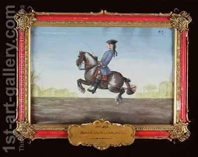 No 49 A horse of the Spanish Riding School performing a dressage movement called a Ballotade by Baron Reis d' Eisenberg - Reproduction Oil Painting