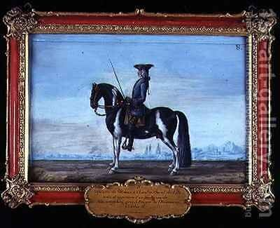 No 8 A piebald horse and rider from the Spanish Riding School the horse belonging to the late Prince of Schwartzenberg equerry to Emperor Charles VI by Baron Reis d' Eisenberg - Reproduction Oil Painting