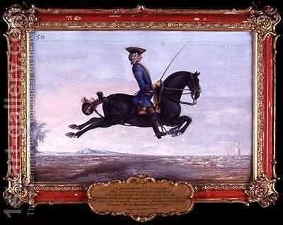 No 50 A jet black horse called Curioso performing a dressage movement called a Capriole by Baron Reis d' Eisenberg - Reproduction Oil Painting