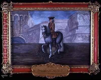 No 23 Dappled grey horse of the Spanish Riding School performing dressage steps by Baron Reis d' Eisenberg - Reproduction Oil Painting