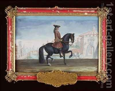No 39 Le Superbe a horse of the Spanish Riding School performing a dressage movement called a Piaffe by Baron Reis d' Eisenberg - Reproduction Oil Painting