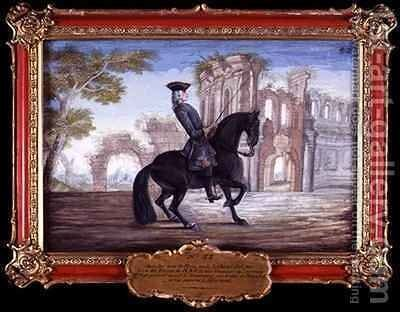 No 52 Le Bienvenu a dark bay horse of the Spanish Riding School performing a dressage movement by Baron Reis d' Eisenberg - Reproduction Oil Painting