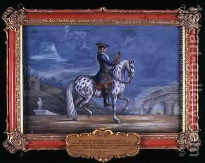 No 11 An appaloosa horse of the Spanish Riding School from the Imperial stud in Bohemia by Baron Reis d' Eisenberg - Reproduction Oil Painting