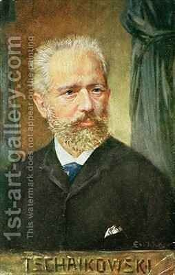Portrait of Piotr Ilyich Tchaikovsky 1840-1893 Russian composer by Albert Eichhorn - Reproduction Oil Painting