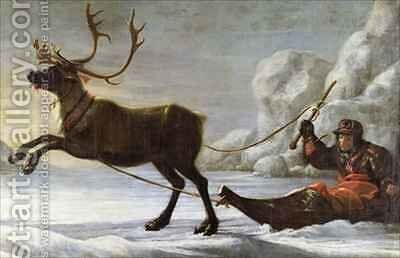Abraham Renstirna Dressed as a Lapp and his Reindeer by David Klocker Ehrenstrahl - Reproduction Oil Painting