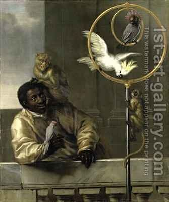 Negro with Parrots and Monkeys by David Klocker Ehrenstrahl - Reproduction Oil Painting