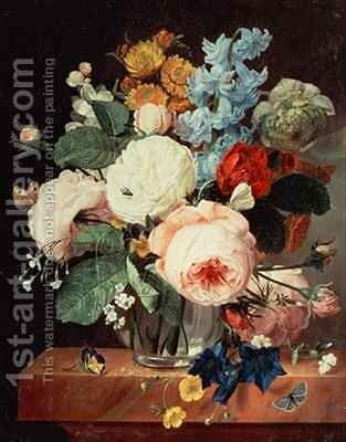 Vase of Flowers on a marble ledge by T.F. Ehaerts - Reproduction Oil Painting