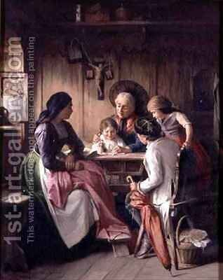 The Reading Lesson by Sigmund Eggert - Reproduction Oil Painting