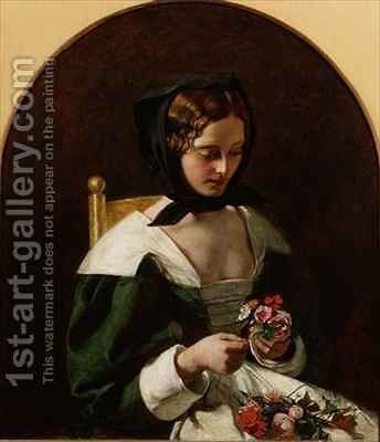 Girl Making a Bouquet of Flowers by Augustus Leopold Egg - Reproduction Oil Painting