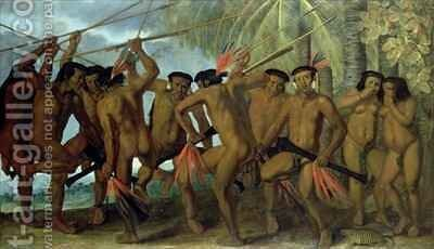 Tapuya men of North Eastern Brazil in war dance by Albert van der Eeckhout - Reproduction Oil Painting