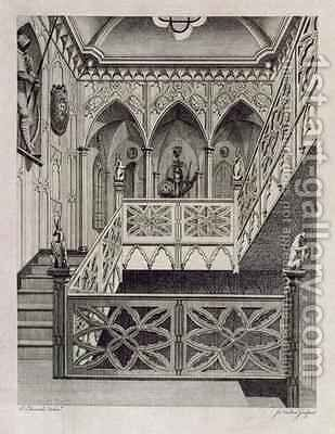 Staircase at Strawberry Hill by (after) Edwards, E - Reproduction Oil Painting