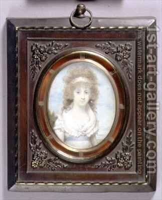 Portrait Miniature of Anna Maria Blunt by Henry Edridge - Reproduction Oil Painting