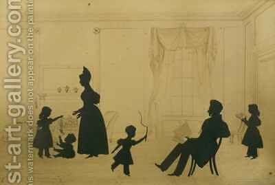 Silhouette of a family scene by Augustin Amant Constant Fidele Edouart - Reproduction Oil Painting