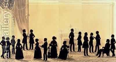 Silhouette of the Family and Guests of Dr Cheesman by Augustin Amant Constant Fidele Edouart - Reproduction Oil Painting