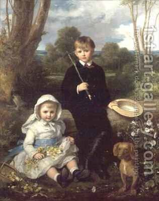 Portrait of a Brother and Sister with their Pet Dog in a Wooded Landscape by Eden Upton Eddis - Reproduction Oil Painting