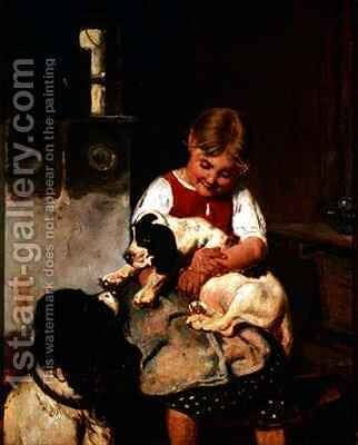 Young girl with puppy by Adolf Eberle - Reproduction Oil Painting