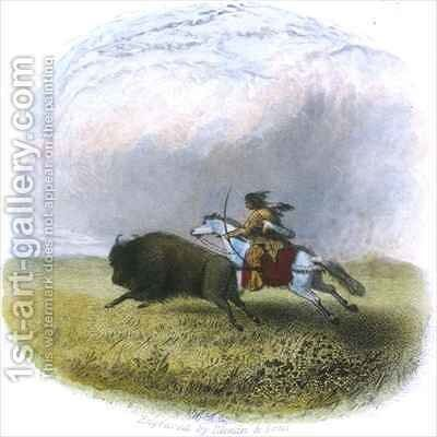 Buffalo hunt by (after) Eastman, Captain Seth - Reproduction Oil Painting