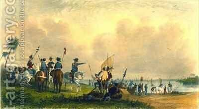 The Landing of De Soto at Tampa Bay in 1539 by (after) Eastman, Captain Seth - Reproduction Oil Painting