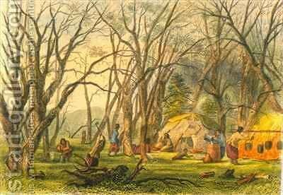 Indian Sugar Camp by (after) Eastman, Captain Seth - Reproduction Oil Painting