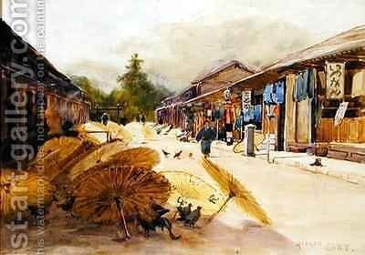 Drying Umbrellas After a Rain Storm by Sir Alfred East - Reproduction Oil Painting