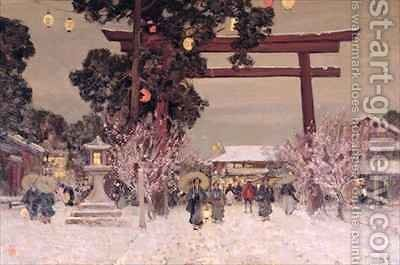 View of a Shinto Shrine by Sir Alfred East - Reproduction Oil Painting