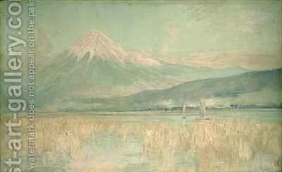 Dawn on the Sacred Mountain the Fuji sun Half Hidden in the Clouds by Sir Alfred East - Reproduction Oil Painting