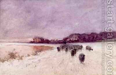Winter at Loch Ard by Sir Alfred East - Reproduction Oil Painting