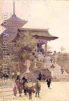 The Entrance to the Temple of Kiyomizu Dera Kyoto with Pilgrims ascending by Sir Alfred East - Reproduction Oil Painting