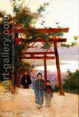 Shin to Shrine in the Woods by Sir Alfred East - Reproduction Oil Painting