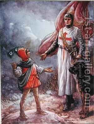 Sir Kenneth and the Dwarf by Harold C. Earnshaw - Reproduction Oil Painting