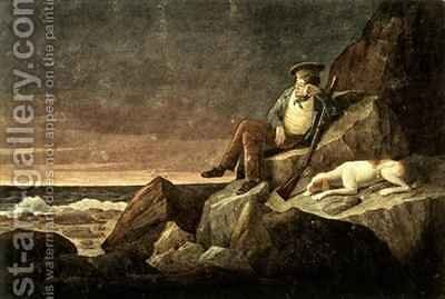 Solitude watching the horizon at sun set in the hope of seeing a vessel Tristan da Cunha in the South Atlantic by Augustus Earle - Reproduction Oil Painting