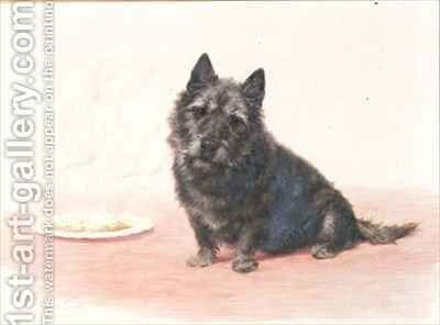 Suppertime  a Scottish terrier sitting by a plate by Maud Earl - Reproduction Oil Painting