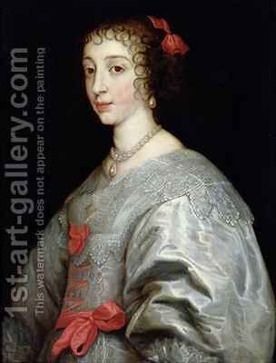 Henrietta Maria of France 1609-69 by (after) Dyck, Sir Anthony van - Reproduction Oil Painting