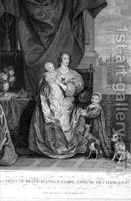 Queen Henrietta Maria 1609-69 Wife of Charles I with Two of their Children by (after) Dyck, Sir Anthony van - Reproduction Oil Painting
