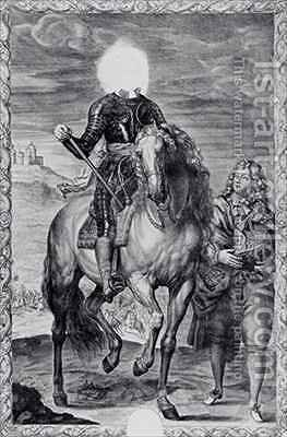 Defaced equestrian portrait of Charles I by (after) Dyck, Sir Anthony van - Reproduction Oil Painting