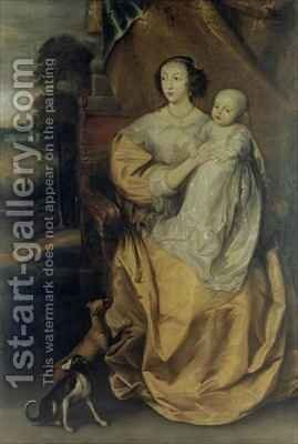 Queen Henrietta Maria 1609-69 2 by (after) Dyck, Sir Anthony van - Reproduction Oil Painting
