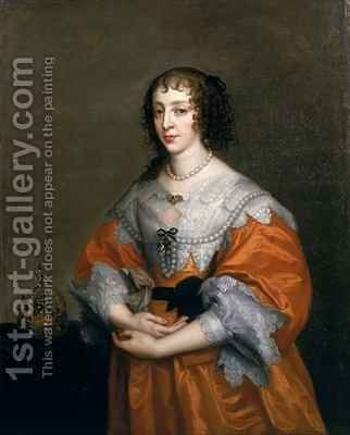 Portrait of Queen Henrietta Maria 1609-69 by (after) Dyck, Sir Anthony van - Reproduction Oil Painting