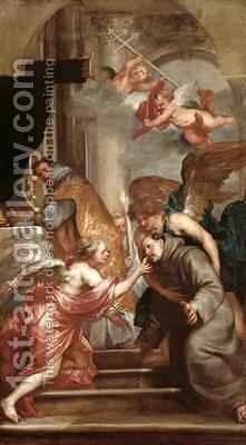 The Communion of St Bonaventure 1221-74 by (after) Dyck, Sir Anthony van - Reproduction Oil Painting