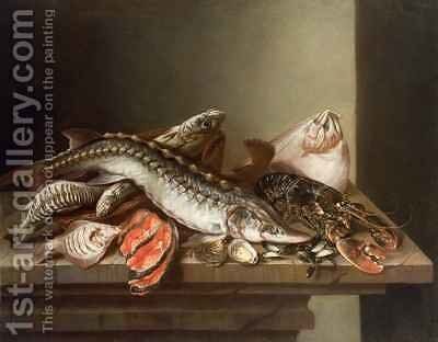 Still Life of Fish on a Table by Isaac van Duynen - Reproduction Oil Painting