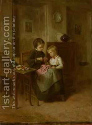The Sewing Lesson 2 by Theophile Emmanuel Duverger - Reproduction Oil Painting