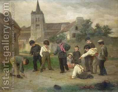 Hopscotch by Theophile Emmanuel Duverger - Reproduction Oil Painting