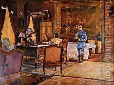 Marshal Ferdinand Foch in his headquarters by Charles Jules Duvent - Reproduction Oil Painting