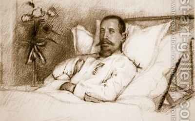 A Leader whose wounded Sir Ian Hamilton has called a calamity General Gouraud in hospital in Paris from The Illustrated War News by Charles Jules Duvent - Reproduction Oil Painting