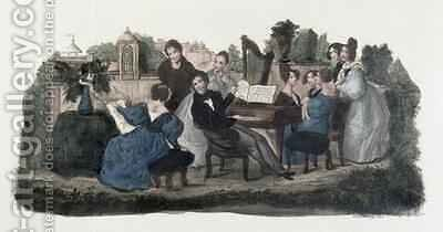 Musical gathering in a garden by Duvelleroy - Reproduction Oil Painting
