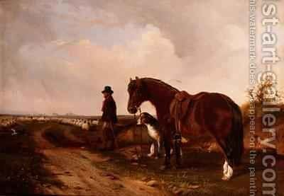 A Shepherd with Pony and Wolfhound by J. Duvall - Reproduction Oil Painting