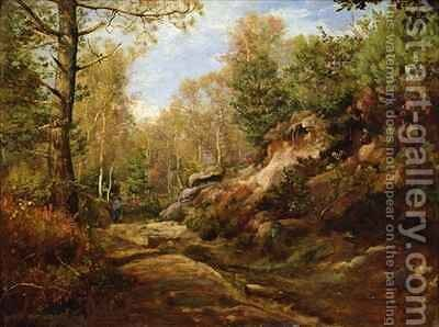 Pines and Birch Trees or The Forest of Fontainebleau by Henri Joseph Constant Dutilleux - Reproduction Oil Painting