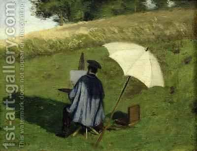 Desire Dubois Painting in the Open Air by Henri Joseph Constant Dutilleux - Reproduction Oil Painting